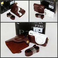 coffee brown  Leather case bag cover for Nikon COOLPIX P330 P340 P310 camera