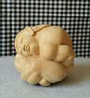 Wood Sculpture Hand Carved Meditating Yogi or Buddha, Weeping Praying Spiritual