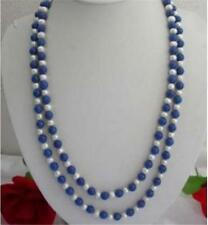 "50 "" L / Natural 8mm Egyptian Blue Lapis Lazuli & Real White Pearl Necklace"