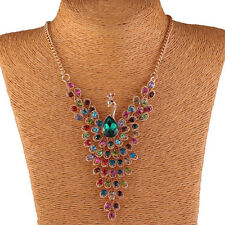 Colorful Peacock Bird Rhinestone Beaded Wing Y Bib Collar Necklace WB