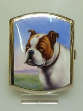 ZIGARETTEN  ETUI  EMAILLIERT ENGLISCHE. BULLDOGGE DOG COLLECTIBLE  ENAMEL CASE