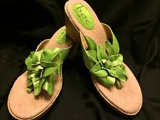 BOC Born Concept Women's Size 8 Lime Green Leather Wedge Thong Sandals Floral