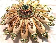 "NEW HUGE 3"" JOAN RIVERS PAVE DOMED SUN FLOWER PIN BROOCH ENAMEL CRYSTALS 3-D"