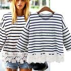 PLUS SIZE Women Casual Loose Crew Neck Striped Lace T Shirt Tee Blouse Tops