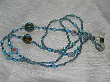Estate Handmade Long Blue Glass Plastic & Ceramic Bead Glasses Holder or Lanyard