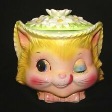 RARE COOKIE JAR Enesco Winkin' KITTY CAT Vintage Canister for Kitchen!