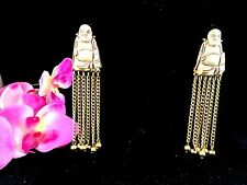 FRENCH HAUTE COUTURE PAULINE TRIGERE GOLDTONE CARVED BUDDHA DANGLE CLIP EARRINGS