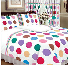 DOUBLE BED DUVET COVER SET SPOTS BE BOP GREEN RED BLUE LILAC PINK WHITE PASTEL