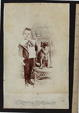 OVERSIZED Cabinet Photo - ID'd Boy with Dog Posed in Studio - Canton NY - 1880