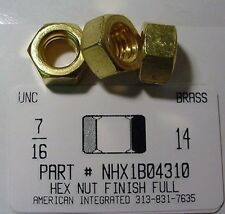 7/16-14 Finished Hex Nuts Solid Brass (5)