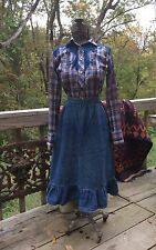 VINTAGE 1960s 70s DENIM WESTERN COWGIRL SQUARE DANCE SKIRT 26W