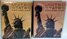 Set of 2 United States Harris Plate Block Albums one with 1,200 USA stamps