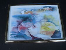 """CATS FISHING (In The Water Swimming With Fish Mask) FRAMED PRINT 5 1/4""""x7 1/4"""""""