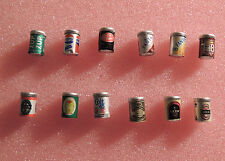 12 ASSORTED SOFT DRINK AND BEER CANS DOLLHOUSE DIORAMA 1:12 SCALE NEW !