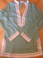 $275 Tory Burch Mint Color Tunic 6 Six Small White Trim Top Swim Cover Up NWT