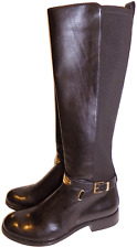 MICHAEL KORS 'Arley' tall Brown Leather Boot Flat Riding Stretch Bootie 6 - 36