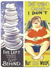 I'VE LEFT THIS LOT BEHIND SAUCY POSTCARD STYLE WOMAN CAVE METAL PLAQUE SIGN 1053