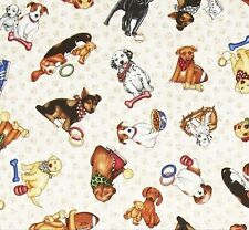 Patchworkstoff Ruff Life Creme Patchwork Stoffe Hunde Tiermotive Baumwolle Dogs