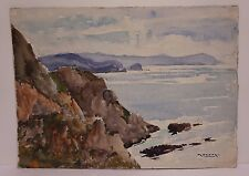 c. 1930s Raoul Monory Double Sided French Watercolor Coastal View Signed Listed