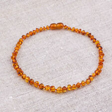 Natural Baltic Amber Baby Necklace with Rounded beads - Honey Color