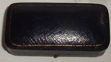 ANTIQUE TOOLED BLUE GILT LEATHER BROOCH PIN JEWELLERY BOX ANDERSONS NEWCASTLE