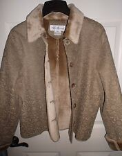 RENA ROWAN  Faux Fur Woman's Coat Shearling Jacket Beige Size 12 NEW