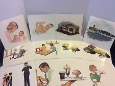 Set Of 16 1968 Vintage Picture Flash Cards Double Sided Occupation Baby Doctor