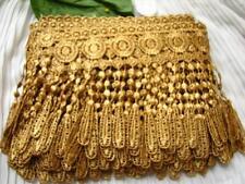 """14yds~ LARGE 5"""" Venise Lace Fringe Gold Quilt Trim Curtain Tassel Chic Victorian"""