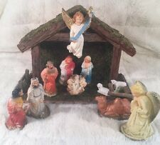 Vintage Christmas Nativity Manger Scene 12 Piece Lot Set Plaster Figures