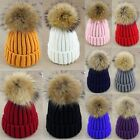 Women Fur Pom Pom 15cm Ball Knit Crochet Baggy Bobble Hat Beanie Beret Ski Cap
