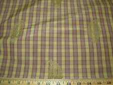 ~12 YDS~100% SILK TAFFETA~PLAID~EMBROIDERED EMBLEM UPHOLSTERY FABRIC FOR LESS~