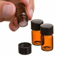 1ml Sample Size Amber Glass Essential Oil Bottle Orifice Reducer & Cap 50 pcs