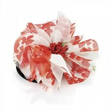 Red Floral Print Flower Hair Elastic Bobble Band Beak Clip Slide Corsage