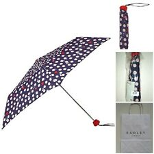 GENUINE Radley Heart spot Scottie dog umbrella Navy BNWT + Radley Gift Bag