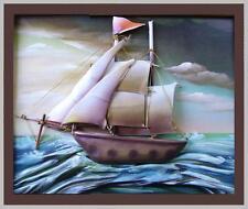 vecchio pannello 55x65 mare marina teca veliero plastica arte kitsch vintage