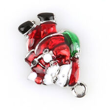 50pcs Red&Green Enamel Christmas Santa Charms Alloy Pendant Fit DIY Decoration L