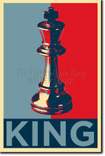 KING CHESS PIECE ART PHOTO PRINT (OBAMA HOPE PARODY) POSTER GIFT CHESSBOARD