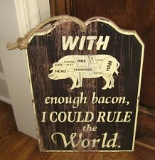 Large Wood PIG BUTCHER MEAT CHART Bacon SIGN*Primitive/French Country Wall Decor