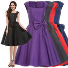 Vintage Ladies Formal Cocktail Evening Party Sleeveless Bow Flared Swing Dress