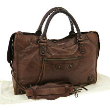 Auth BALENCIAGA CLASSIC CITY Editor's 2way Hand Bag DB Leather Vintage S05207