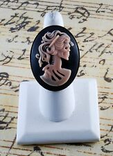 "LTV Creation ""Pink Lady Skeleton"" Ring Industrial Raw Brass Resin Cast Cameo"