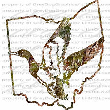 Camo Duck over the Ohio State Outline Duck Hunter Vinyl Decal Sticker Hunting