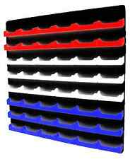 48 Pocket Red, White and Blue Business Card Holder w/ Black Acrylic Wall Mount