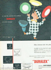 PUBLICITE ADVERTISING 115  1958  Duralex Saint Gobain assiettes couleur Camps