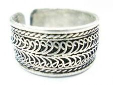 Beautiful Big Adjustable Tibetan White Copper 2-layer Lotus Filigree Amulet Ring
