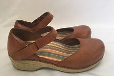 DANSKO Jute Tan Brown Leather Mary Jane Espadrille Clogs Shoes Womens 38 / 7.5-8