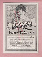 HAMBURG, Werbung 1918, Kaliklora Queisser & Co. Zahnpaste Zähne Zahnpasta Tube