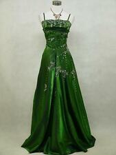 Cherlone Green Sparkly Long Satin Ball Prom Wedding/Evening Gown Dress UK 12-14