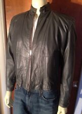 Vintage Gino Leather Caffe Racer Gray Biker Jacket Mens W/ Zip Out Liner Size 42
