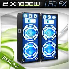 2000W PAAR DJ PA 3-WEGE LED BOXEN SET 2x BASS LAUTSPRECHER DISCO PORTY SOUND SET